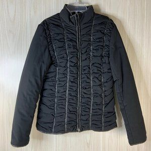 Via Spiga Ruched Front Puffer Jacket Coat Black S